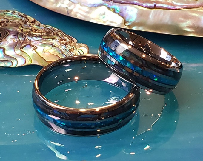 Tungsten Ring - Opal Blue Green inlay with Abalone Shell outer inlay -  Hers and his. Uniquely Beautiful rings, unisex ring, Sold Separately