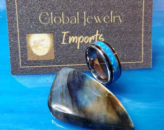 Tungsten Galaxy Blue-Green Opal 8 mm Ring.