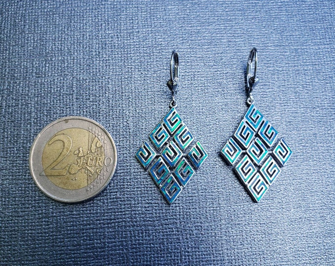 Earrings Blue opal sterling silver Greek Key/Meander design chandelier style, High quality. Great for the girl with everything.
