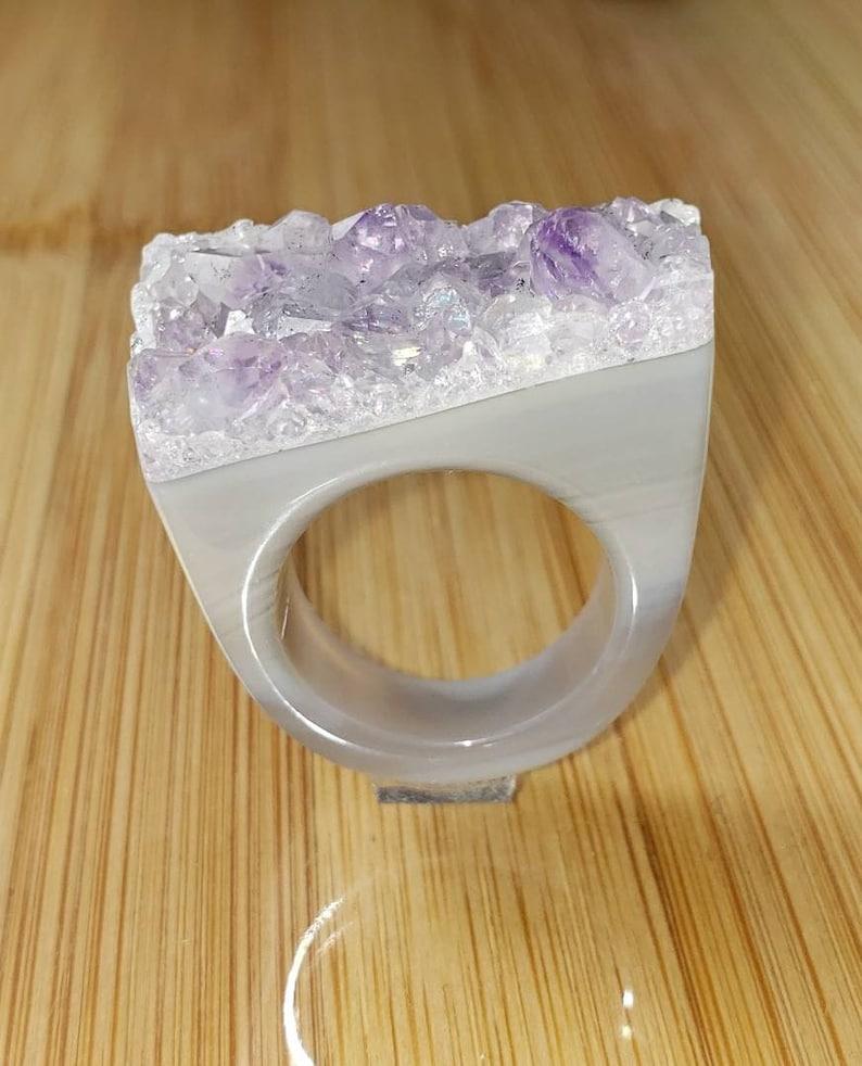 Natural Amethyst ring SIZE 6 Raw Amethyst Ring