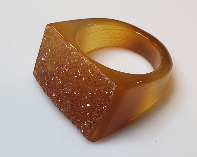 Burnt Orange Drusy Statement for Fall 6 ring size - Agate Druzy