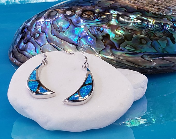 Blue opal crescent shaped beautiful 925 pure sterling silver, elegant women's earrings made in Athens Greece.