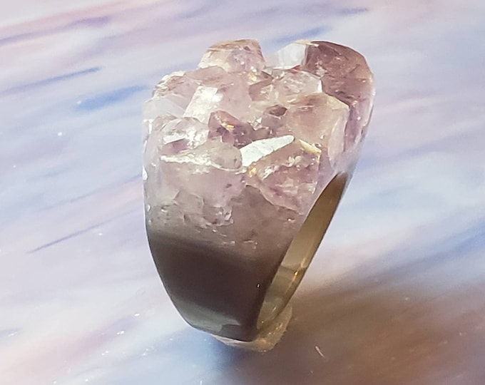 Solid Amethyst Ring - Natural Amethyst ring SIZE 7.5 Raw Amethyst Ring - Natural Amethyst ring