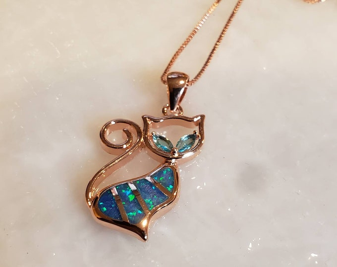 Blue Opal Rose Gold Necklace  Pet Pendant, Cat Charm Pendant,Cat Lover Jewelry