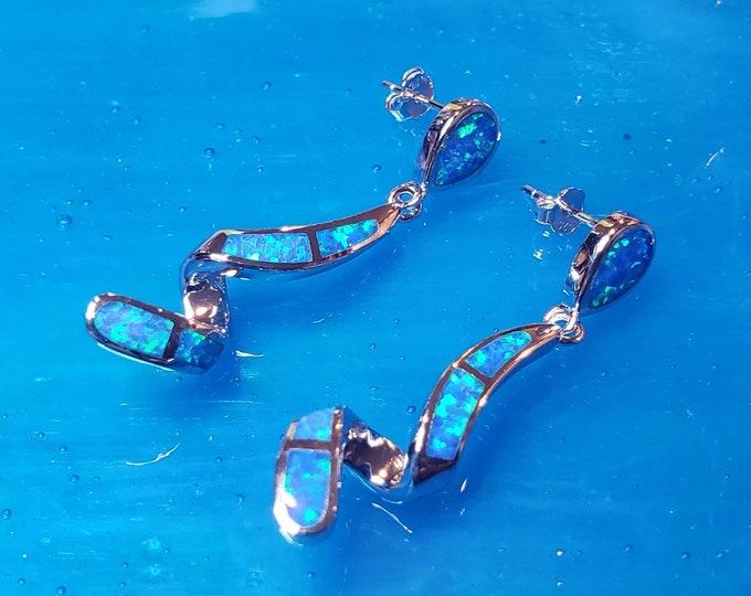 Blue opal earrings Stud Infinity Spiral Dangle Earrings,  Beautiful Pure 925 Sterling Silver Opal Earrings Handmade from Athens, Greece.