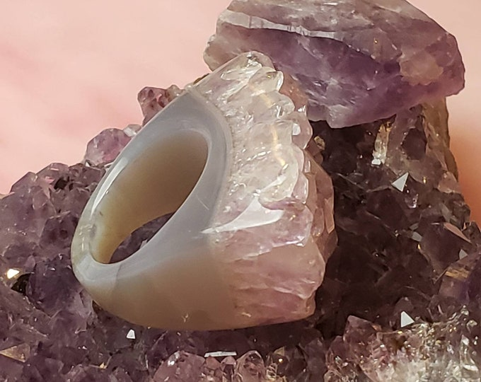Solid Amethyst Ring - Natural Amethyst Boho ring Size 8