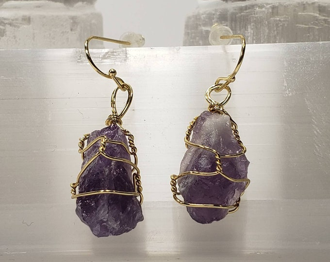 Wire Wrapped Natural Raw Amethyst Crystal Earrings For a Great Gift Boho Earrings