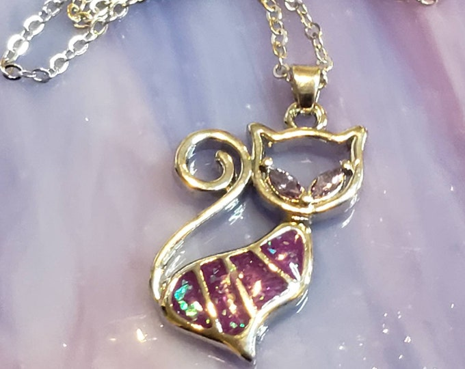 Purple Opal Cat Necklace Sterling Silver Plated Pet Pendant, Cat Charm Pendant,Cat Lover Jewelry