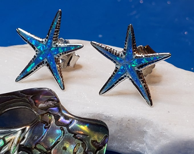 Blue opal Starfish, Earrings Pure Sterling Silver 925 made in Greece, Handmade beautiful Shiny Silver gift