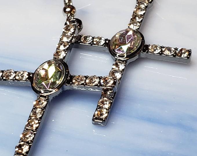 Silver Cross earrings with cubic zirconia crystals, beautiful dangly earrings.