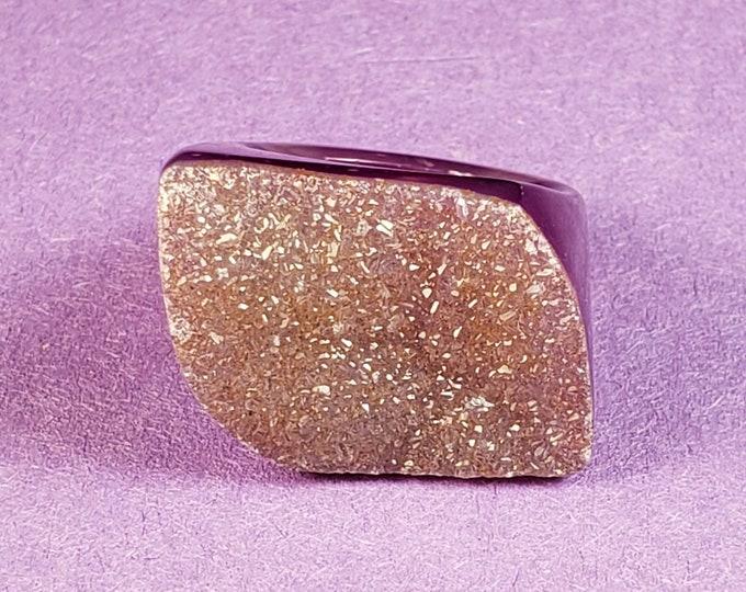 Size 7 Purple Quartz statement ring - Raw Lavender Amethyst Ring