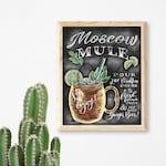 Moscow Mule Print - Chalk Art - Moscow Mule Recipe Print - Drink Art - Cocktail Art - Moscow Mule - Kitchen Chalkboard Art - Bar Cart Art