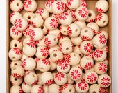 Snowflake Pattern Beads, Wooden Round Beads, Wooden Beads for Craft Garland, Farmhouse Decor, DIY Christmas Decor, 10-100Pcs Wholesale Beads