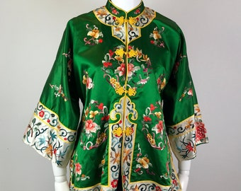 2cd89d89436 Vintage Emerald Green Silk Embroidered Chinese Jacket • Authentic Antique Silk  Embroidered Chinese Jacket •