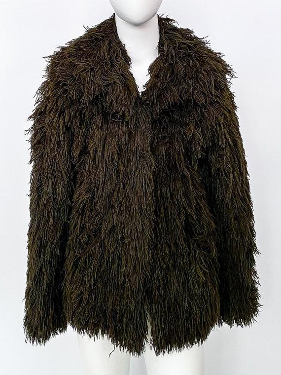 Vintage 1970s Brown Shag Yarn Jacket
