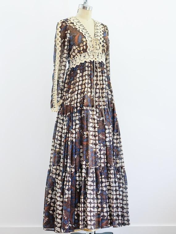 1970s Gunne Sax Batik Maxi Dress