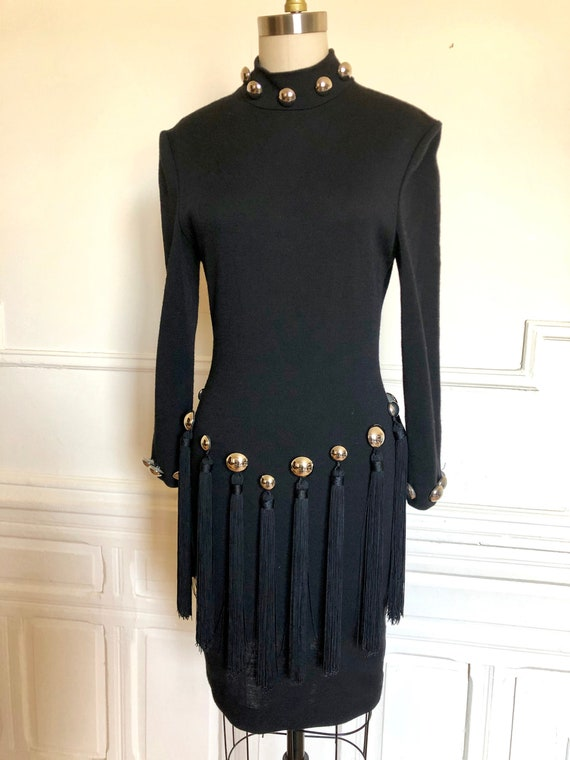 Vintage 80s Patrick Kelly Black Knit Tassel Dress