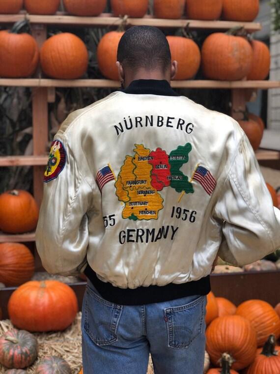 Vintage White Silk Germany Souvenir Jacket