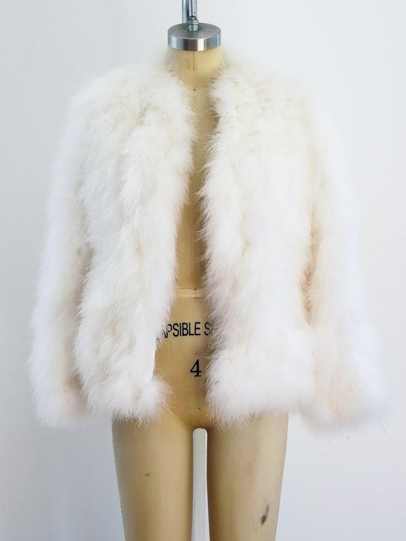 Vintage 1970s  Marabou Feather Jacket