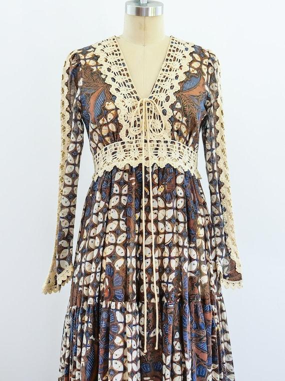 1970s Vintage Gunne Sax Batik Maxi Dress