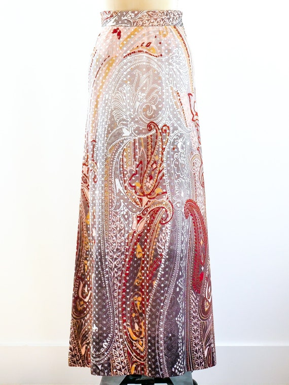Metallic Dot Paisley Maxi Skirt