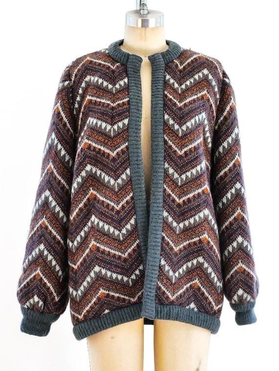 Vintage 1990s Escada Metallic Chevron Knit Jacket