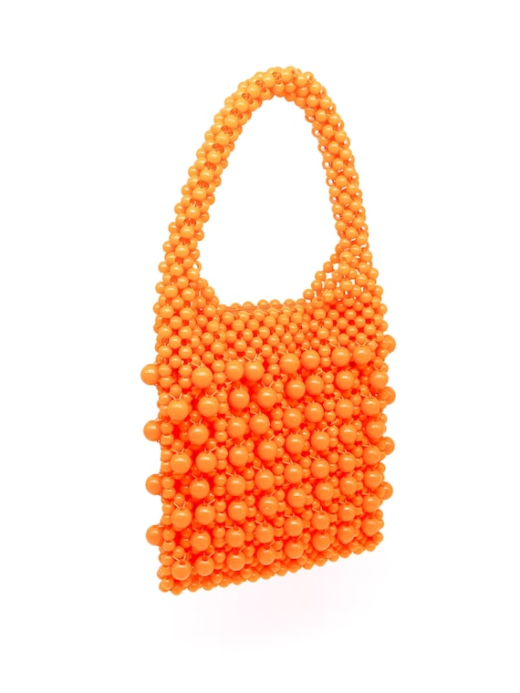 Vintage 1960's Orange Bead Top Handle Bag - image 2