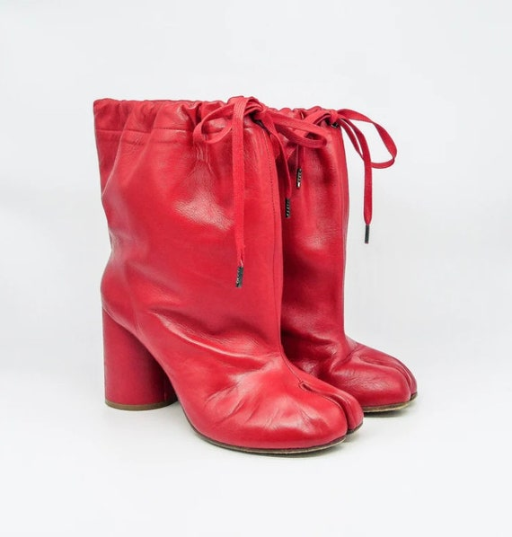 Margiela Red Leather Drawstring Tabi Boots, 39.5