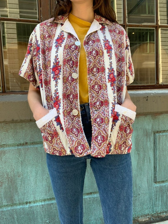 Vintage Floral Terrycloth lined Collared Shirt