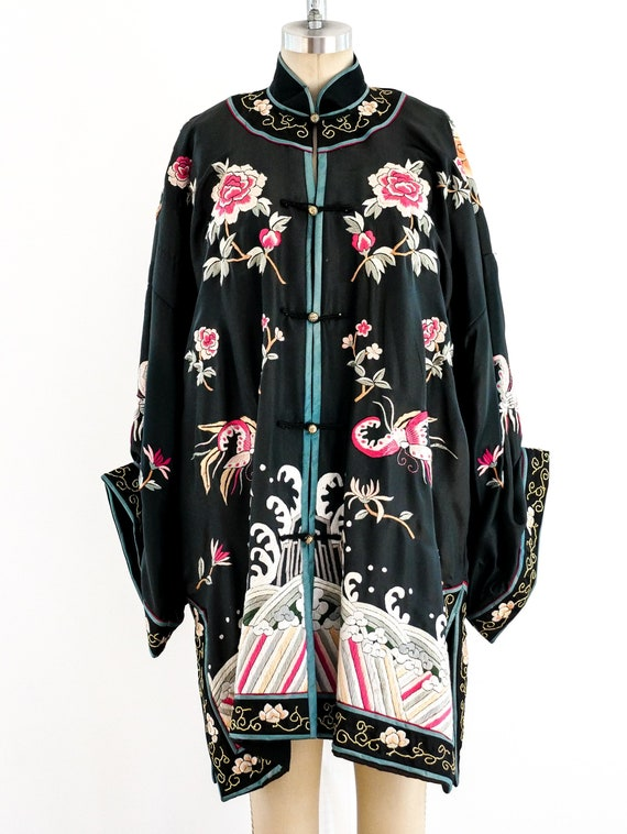 1970s Vintage Hand embroidered Chinese silk robe
