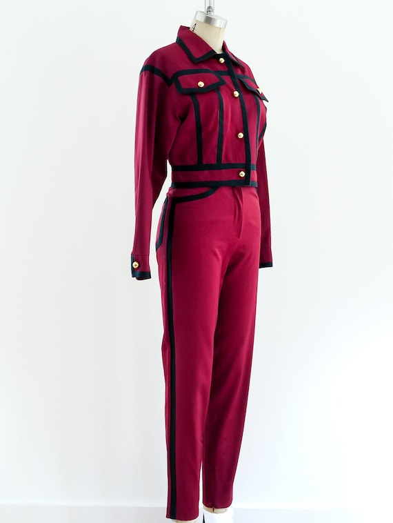 1990s Complice Wine Suit with Navy Trim