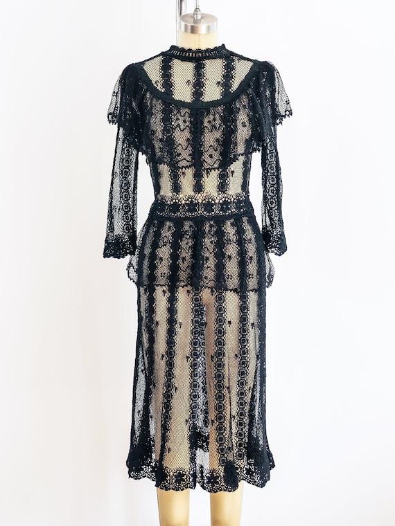 1980s Black Crochet Victorian Inspired Dress
