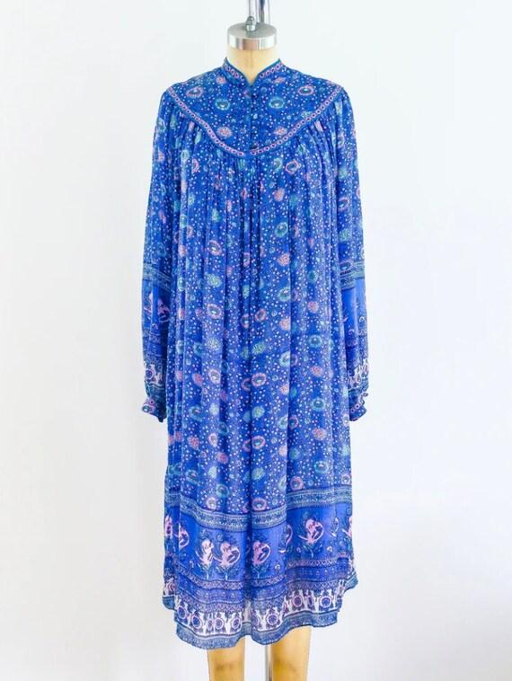 Block Print Indigo Silk Indian Dress