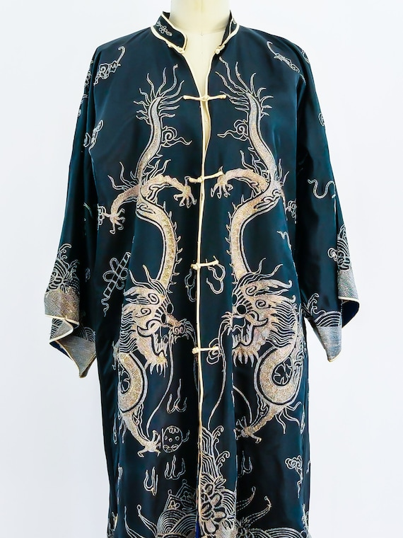 1970s Dragon Embroidered Chinese Silk Robe