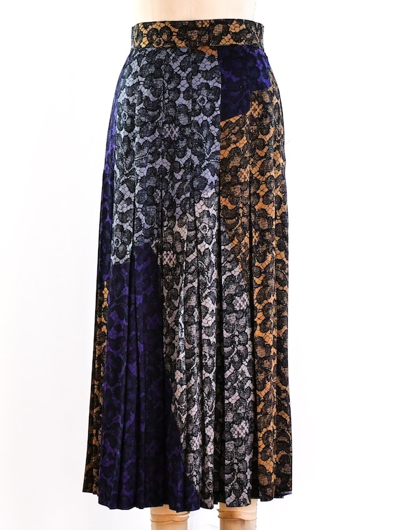 vintage 1990s Escada Lace Printed Midi Skirt - image 1