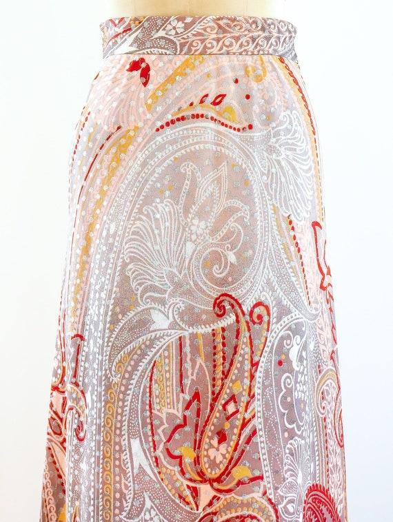 Metallic Dot Paisley Maxi Skirt - image 3