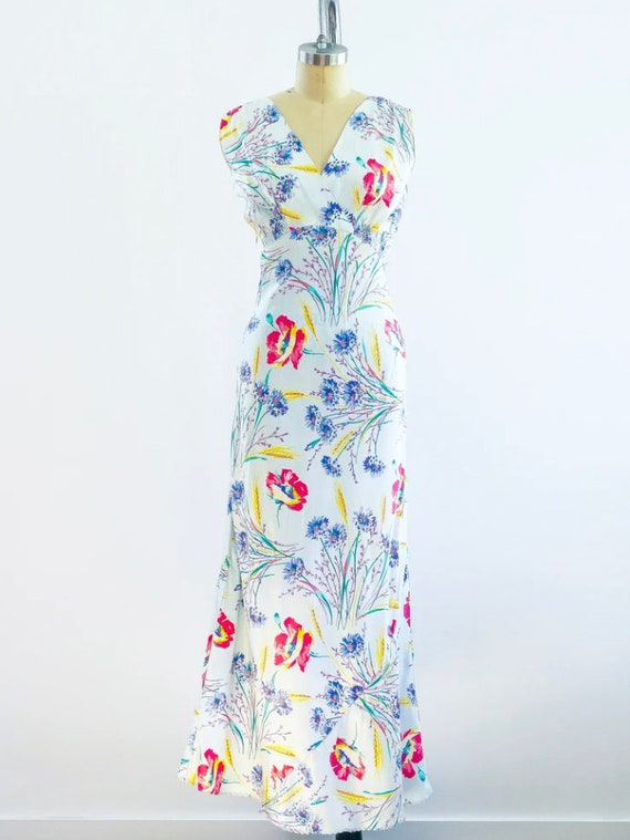 1930's Floral Slip Dress - image 1