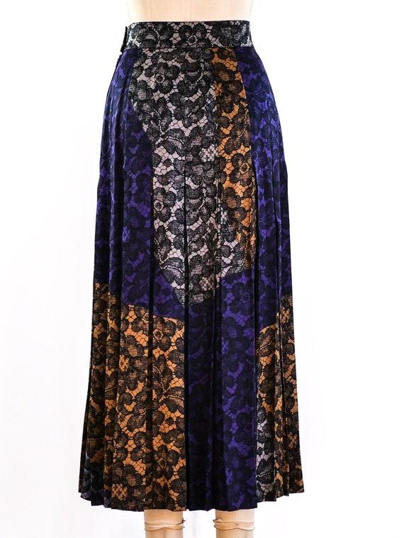 vintage 1990s Escada Lace Printed Midi Skirt - image 4