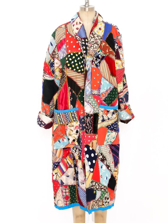 Vintage 1970s Patchwork Quilted Duster