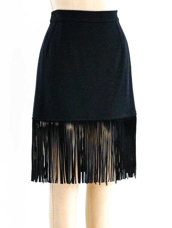 1990s Vintage Yves Saint Laurent Fringed Mini Skir