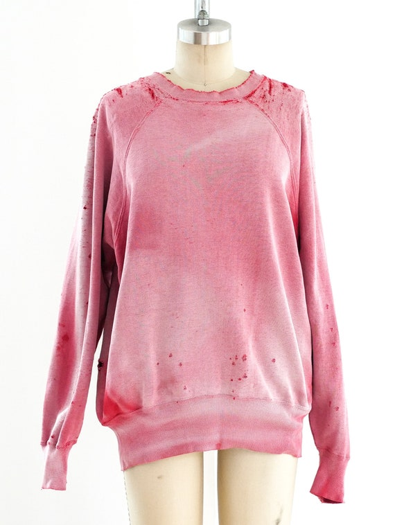 1950s Distressed Red Sweatshirt