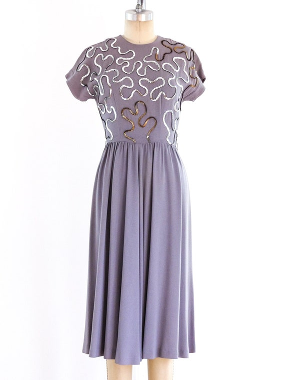 1940s Soutache Sequin Dress