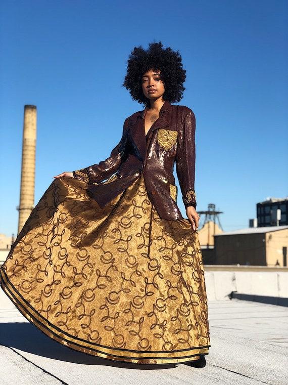 1980s Vintage Jeanne Marc Bronze Full Maxi Skirt