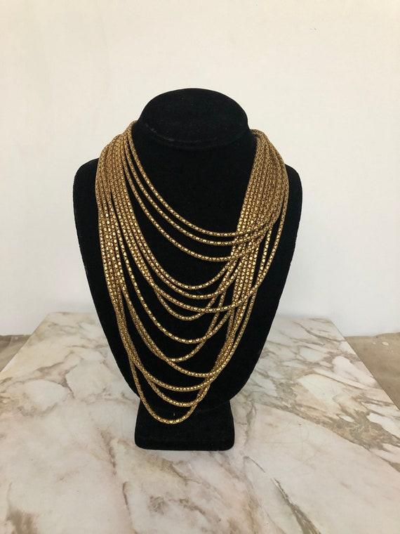 Vintage Multi-Strand Brass Box Chain Necklace