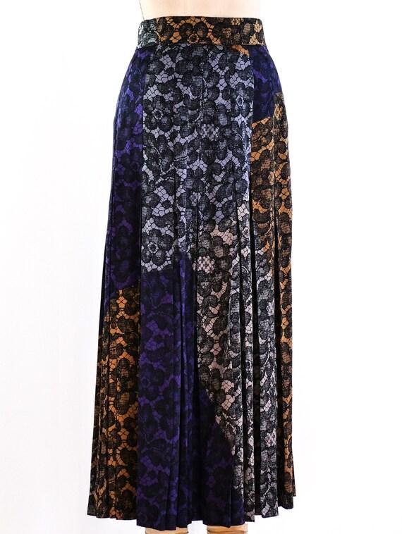 vintage 1990s Escada Lace Printed Midi Skirt - image 3