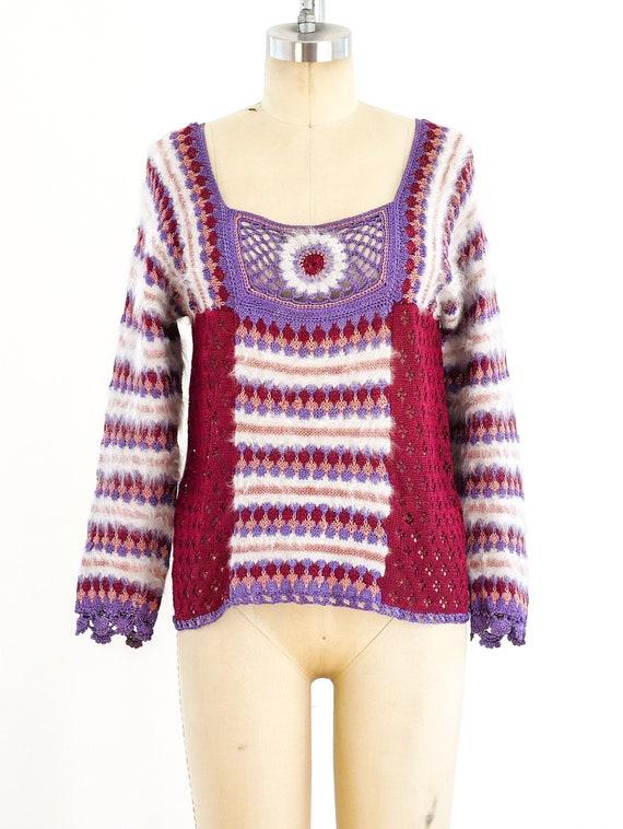 Vintage 1970s Crochet Knit Sweater S/M