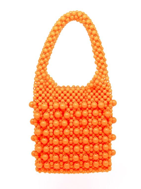 Vintage 1960's Orange Bead Top Handle Bag - image 4