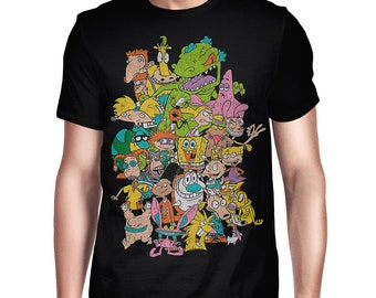 91f6be4e490e Old School Nickelodeon Cartoons Vintage T-Shirt, Men's Women's All Sizes Tee