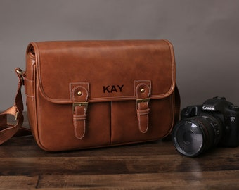 d7c9e0ee9e Personalized Medium PU Leather DSLR Camera Bag