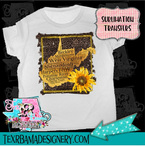 West Virginia Sunflower Leopard Retro Ready To Press Sublimation Transfer  Or Iron On Vinyl Transfer